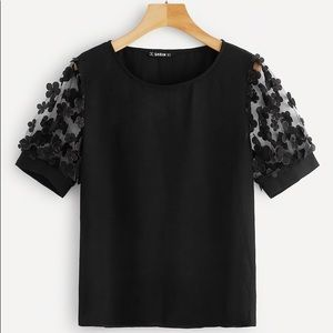 Shein Floral Appliques Mesh Sleeve Top